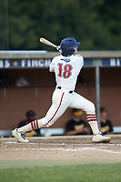 Will Schroeder (18) (UNC) of the High Point-Thomasville HiToms follows through on his swing against the Statesville Owls at Finch Field on July 19, 2020 in Thomasville, NC. The HiToms defeated the Owls 21-0. (Brian Westerholt/Four Seam Images)