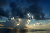 Sunrise over the clouds and sea, Maldives.