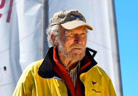 A recent photo of the late Bruce Kirby. His inspired design for the Laser created a unique boat which met Olympic requirements while acquiring universal popularity
