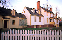 Historical Colonial America, Williamsburg Virginia. Colonial home with white picket fence