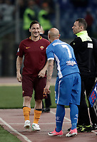 Calcio, Serie A: Roma, stadio Olimpico, 1 aprile, 2017.<br /> Roma's Francesco Totti (l) jokes with Empoli's Massimo Maccarone (r) before entering on the pitch during the Italian Serie A football match between Roma and Empoli at Olimpico stadium, April 1, 2017<br /> UPDATE IMAGES PRESS/Isabella Bonotto