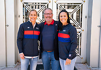 ORLANDO, FL - FEBRUARY 28: Orlando Mayor Buddy Dyer speaks poses with Ali Krieger #11 and Ashlyn Harris #18 of the United States at City Hall on February 28, 2020 in Orlando, Florida.