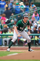 Great Lakes Loons designated hitter Matt Jones (40) during the first game of a doubleheader against the Fort Wayne TinCaps on May 11, 2016 at Parkview Field in Fort Wayne, Indiana.  Great Lakes defeated Fort Wayne 3-0.  (Mike Janes/Four Seam Images)