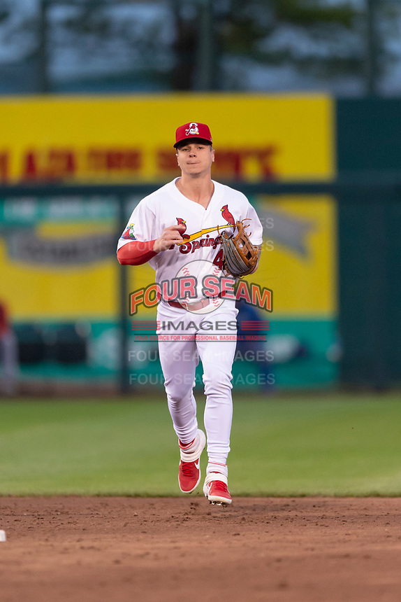 Springfield Cardinals left fielder Tyler O'Neill (40) jogs off the field during a rehab assignment in a Texas League game against the Amarillo Sod Poodles on April 25, 2019 at Hammons Field in Springfield, Missouri. Springfield defeated Amarillo 8-0. (Zachary Lucy/Four Seam Images)
