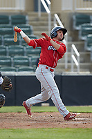 Josh Stephen (8) of the Lakewood BlueClaws follows through on a solo home run against the Kannapolis Intimidators at Kannapolis Intimidators Stadium on April 8, 2018 in Kannapolis, North Carolina.  The Intimidators defeated the BlueClaws 4-3 in game two of a double-header.  (Brian Westerholt/Four Seam Images)