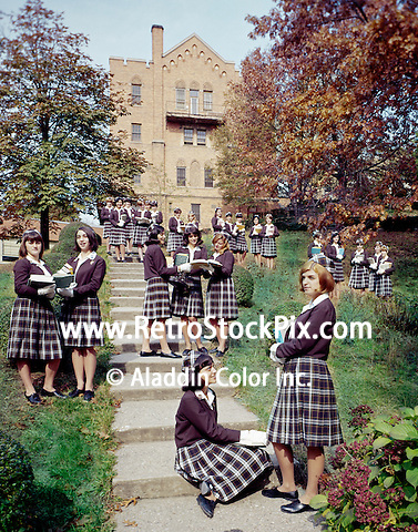 St. John Villa Academy. Teenager girls in uniform. 1959