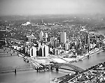 Pittsburgh PA:  Aerial view of Pittsburgh's skyline after Gateway Center buildings 1,2 & 3 were completed.