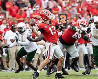 ATHENS, GA - SEPTEMBER 11: Stetson Bennett #13 passes the ball during a game between University of Alabama Birmingham Blazers and University of Georgia Bulldogs at Sanford Stadium on September 11, 2021 in Athens, Georgia.
