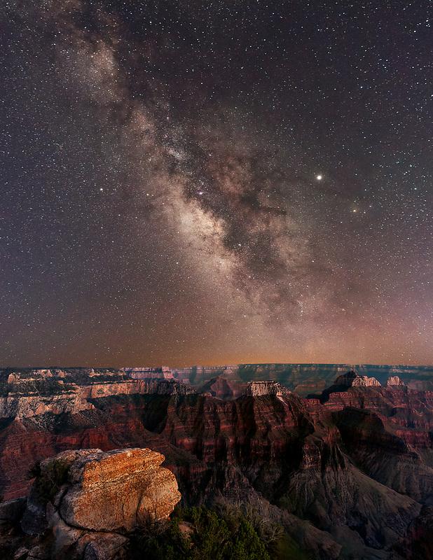 Milky Way Gallaxy over Grand Canyon, North Rim View. Arizona