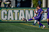 5 October 2019: University of Vermont Catamount Defender Garrett Lillie, a Sophomore from York, Maine, battles University at Albany Great Dane Midfielder Niklas Roessler, a Junior from Stuttgart, Germany, on Virtue Field in Burlington, Vermont. The Catamounts fell to the visiting Danes 3-1 in America East, Division 1 play. Mandatory Credit: Ed Wolfstein Photo *** RAW (NEF) Image File Available ***