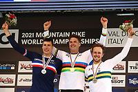 29th August 2021; Commezzadura, Trentino, Italy; 2021 Mountain Bike Cycling World Championships, Val di Sole; Downhill; Downhill final Benoit Coulanges (FRA), Greg Minnaar (RSA), Troy Brosnan (AUS)