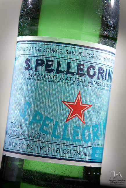 Peligrino sparkling water product shot looking very cold and refreshing.