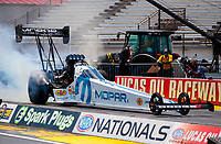 Jul 11, 2020; Clermont, Indiana, USA; NHRA top fuel driver Leah Pruett during qualifying for the E3 Spark Plugs Nationals at Lucas Oil Raceway. This is the first race back for NHRA since the start of the COVID-19 global pandemic. Mandatory Credit: Mark J. Rebilas-USA TODAY Sports