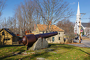 Cannon on the grounds of the Old York Gaol in York Village in York, Maine during the autumn months.