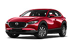 Stock pictures of low aggressive front three quarter view of a 2020 Mazda CX 30 Skydrive-Lux 5 Door SUV