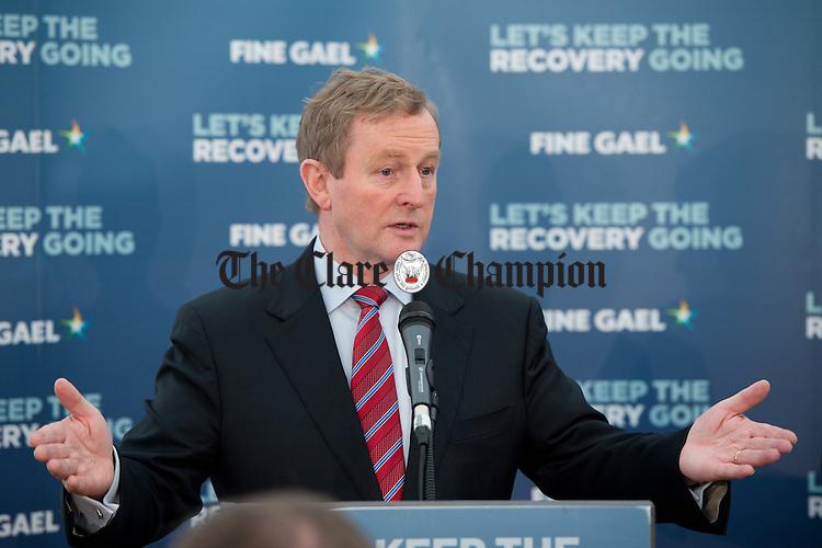 Enda Kenny, Taoiseach, launching the Fine Gael tourism initiative at Loop Head. Photograph by John Kelly.