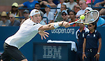 Jack Sock (USA) loses to Janko Tipsarevic (SRB)3-6, 7-6, 6-1, 6-2, at the US Open being played at USTA Billie Jean King National Tennis Center in Flushing, NY on August 31, 2013