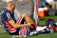 21 October 2007: Buffalo Bills punter Brian Moorman pulls his socks up prior to a game between the Bills and the visiting Baltimore Ravens at Ralph Wilson Stadium in Orchard Park, NY. The Bills defeated the Ravens 19-14 in front of 70,727 fans marking their second win of the 2007 season...Mandatory Photo Credit: Ed Wolfstein Photo