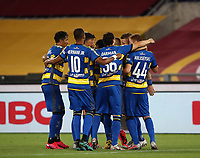 Parma's Juraj Kucka, second from right, celebrates with his teammatea after scoring on a penalty kick during the Italian Serie A football match between Roma and Parma at Rome's Olympic stadium, July 8, 2020.<br /> UPDATE IMAGES PRESS/Isabella Bonotto