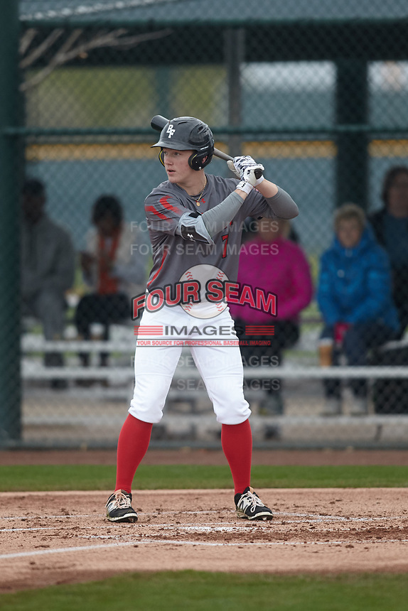 Calin Smith (7) of Trinity Christian High School in Peachtree City, Georgia during the Under Armour All-American Pre-Season Tournament presented by Baseball Factory on January 15, 2017 at Sloan Park in Mesa, Arizona.  (Kevin C. Cox/MJP/Four Seam Images)