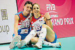 Opposite spiker Tijana Boskovic (L) and Wing spiker Tijana Malesevic (R) of Serbia  pose for photo during the FIVB Volleyball World Grand Prix - Hong Kong 2017 match between China and Serbia on 23 July 2017, in Hong Kong, China. Photo by Yu Chun Christopher Wong / Power Sport Images