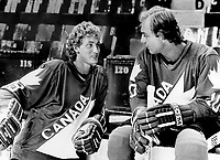 1981 FILE PHOTO - ARCHIVES -<br /> <br /> Swell guys: Team Canada's hopes of winning the Canada Cup will rest on the broad shoulders of youthful superstar Wayne Gretzky of the Edmonton Oilers and veteran superstar Guy Lafleur of the Montreal Canadiens. The two star hockey players took time off from training yesterday in Montreal to plot their strategy. Gretzky and Lafleur will be linemates for Team Canada; accompanied by leftwinger Steve Shutt; also of Montreal.<br /> <br /> 1981<br /> <br /> PHOTO :  Frank Lennon  - Toronto Star Archives - AQP