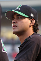 August 30, 2003:  Ivan Reyes of the Dayton Dragons, Class-A affiliate of the Cincinnati Reds, during a Midwest League game at Fifth Third Field in Dayton, OH.  Photo by:  Mike Janes/Four Seam Images