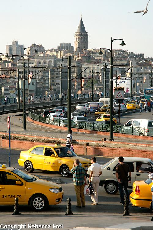 Looking across the Galata Bridge towards Beyoglu from Eminonu, Istanbul, Turkey