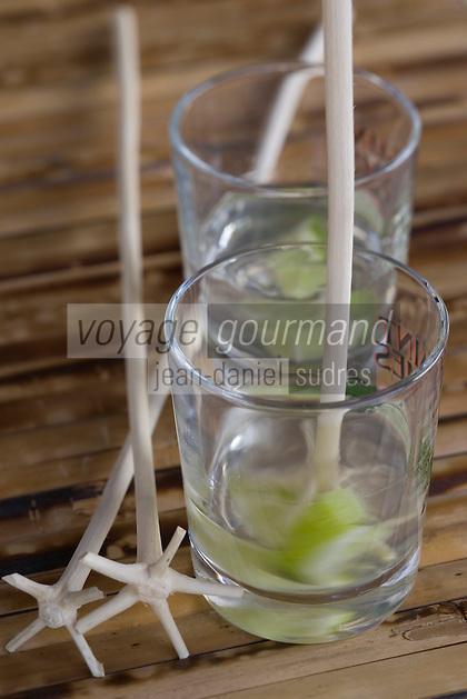 """France/DOM/Martinique/Le François: Hôtel Cap Est Lagoon Resort & Spa - Restaurant """"le Campèche"""" service du ti-punch rhum blanc AOC - citron vert agité avec le lélé batonnet provenant d'un arbre a fourche"""