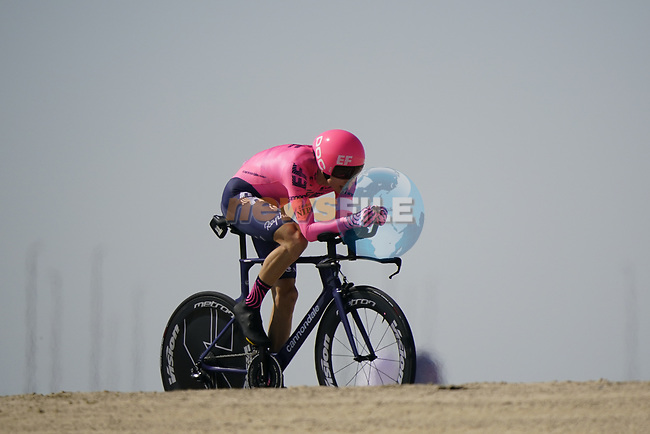 Neilson Powless (USA) EF Education-Nippo during Stage 2 of the 2021 UAE Tour an individual time trial running 13km around  Al Hudayriyat Island, Abu Dhabi, UAE. 22nd February 2021.  <br /> Picture: Eoin Clarke   Cyclefile<br /> <br /> All photos usage must carry mandatory copyright credit (© Cyclefile   Eoin Clarke)