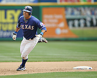 Texas Rangers C Gerald Laird against the Seattle Mariners on May 14th, 2008 at Texas Rangers Ball Park in Arlington, Texas. Photo by Andrew Woolley .