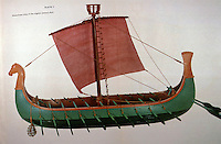 """World Civilization:  Ancient Ships--Phoenician ship, 8th C.  B.C.  Used on long voyages, as far afield as Cornwall, and even to the Baltic.  """"This would explain resemblance to Viking ships."""""""
