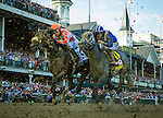 LOUISVILLE, KY - MAY 07: Mohaymen #14 with Junior Alvarado outlast Suddenbreakingnews #2 with Luis S. Quinonez for 4th place in the  Kentucky Derby at Churchill Downs on May 07, 2016 in Louisville, Kentucky.(Photo by Alex Evers/Eclipse Sportswire/Getty Images)