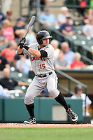 Indianapolis Indians third baseman Chase d'Arnaud (15) at bat during a game against the Rochester Red Wings on July 26, 2014 at Frontier Field in Rochester, New  York.  Rochester defeated Indianapolis 1-0.  (Mike Janes/Four Seam Images)