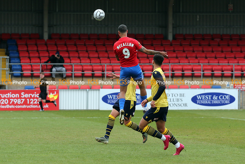 Paul McCallum of Dagenham and Redbridge scores the first goal for his team and celebrates during Dagenham & Redbridge vs Woking, Vanarama National League Football at the Chigwell Construction Stadium on 3rd May 2021