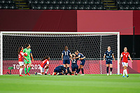 21st July 2021; Sapporo, Japan; Ellen White 9 GB celebrates her goal with her teammates as Chile players walk away dejected during the womens Olympic Football Tournament Tokyo 2020 match between Great Britain and Chile at Sapporo Dome in Sapporo, Japan. Great Britain won the game by a score of 2-0