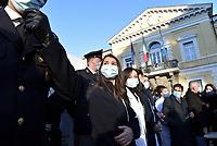 Roma, 27 Dicembre 2020<br /> Claudia Alivernini prima infermiera vaccinata.<br /> Conferenza stampa di presentazione della campagna di vaccinazione contro il Covid all'istituto Lazzaro Spallanzani
