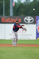 Lowell Spinners shortstop Yomar Valentin (5) throws to first base for the out during a game against the Batavia Muckdogs on July 12, 2017 at Dwyer Stadium in Batavia, New York.  Batavia defeated Lowell 7-2.  (Mike Janes/Four Seam Images)