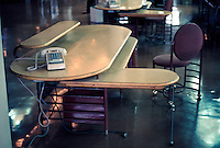F.L. Wright: S.C. Johnson & Son. Desk.  Photo '77.