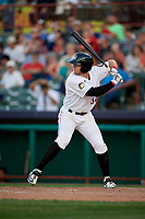 Tri-City ValleyCats left fielder Seth Beer (34) at bat during a game against the Vermont Lake Monsters on June 16, 2018 at Joseph L. Bruno Stadium in Troy, New York.  Vermont defeated Tri-City 6-2.  (Mike Janes/Four Seam Images)