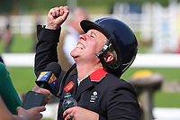 5th September 2021; Bicton Park, East Budleigh Salterton, Budleigh Salterton, United Kingdom: Bicton CCI 5* Equestrian Event; Gemma Tattersall delighted with her win after the final round of showjumping