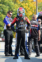Oct. 5, 2012; Mohnton, PA, USA: NHRA funny car driver Bob Tasca III during qualifying for the Auto Plus Nationals at Maple Grove Raceway. Mandatory Credit: Mark J. Rebilas-