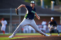 Vermont Lake Monsters starting pitcher A.J. Puk (45) delivers a pitch during the second inning of his professional debut against the Auburn Doubledays on July 12, 2016 at Falcon Park in Auburn, New York.  Auburn defeated Vermont 3-1.  (Mike Janes/Four Seam Images)