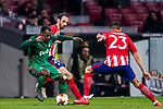 Manuel Fernandes (L) of FC Lokomotiv Moscow fights for the ball with Juan Francisco Torres Belen, Juanfran (C), and Victor Machin, Vitolo, of Atletico de Madrid during the UEFA Europa League 2017-18 Round of 16 (1st leg) match between Atletico de Madrid and FC Lokomotiv Moscow at Wanda Metropolitano  on March 08 2018 in Madrid, Spain. Photo by Diego Souto / Power Sport Images
