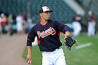 Second baseman Jace Peterson (28) of the Atlanta Braves before a Spring Training game against the New York Yankees on Wednesday, March 18, 2015, at Champion Stadium at the ESPN Wide World of Sports Complex in Lake Buena Vista, Florida. The Yankees won, 12-5. (Tom Priddy/Four Seam Images)