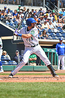 Ryan Metzier (8) of the Hartford Yard Goats bats during a game against the Binghamton Rumble Ponies at Dunkin Donuts Park on May 9, 2018 in Hartford, Connecticut.<br /> (Gregory Vasil/Four Seam Images)
