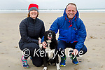 Enjoying a stroll in Banna beach on Sunday, l to r: Catriona McCorry and Sean O'Sullivan with Daisy the dog.