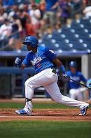 Tulsa Drillers outfielder Yadir Drake (8) at bat during a game against the Midland RockHounds on June 3, 2015 at Oneok Field in Tulsa, Oklahoma.  Midland defeated Tulsa 5-3.  (Mike Janes/Four Seam Images)