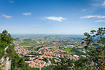 Republic of San Marino, view from San Marino City on top of Monte Titano downwards to Borgo Maggiore | Republik San Marino, Blick von San Marino Stadt auf dem Monte Titano runter auf Borgo Maggiore