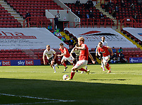 24th April 2021; The Valley, London, England; English Football League One Football, Charlton Athletic versus Peterborough United;  Jayden Stockley takes the penalty kick for Charlton in minute 30, which was saved by goalkeeper Josef Bursik of Peterborough